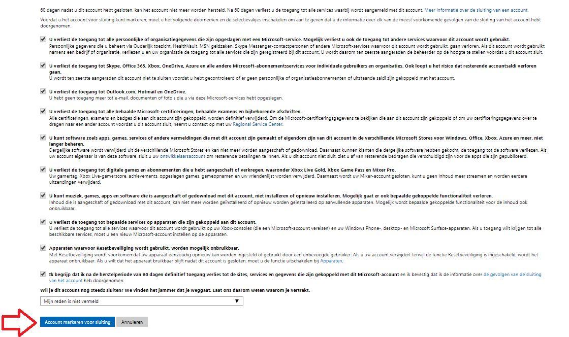 Account markeren voor sluiting Microsoft