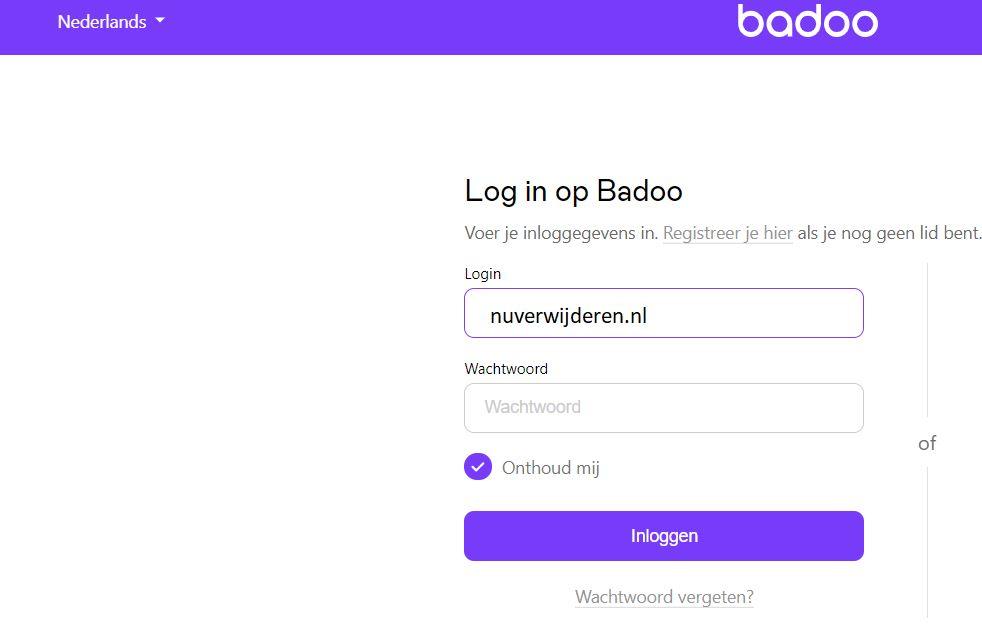 Inloggen Badoo