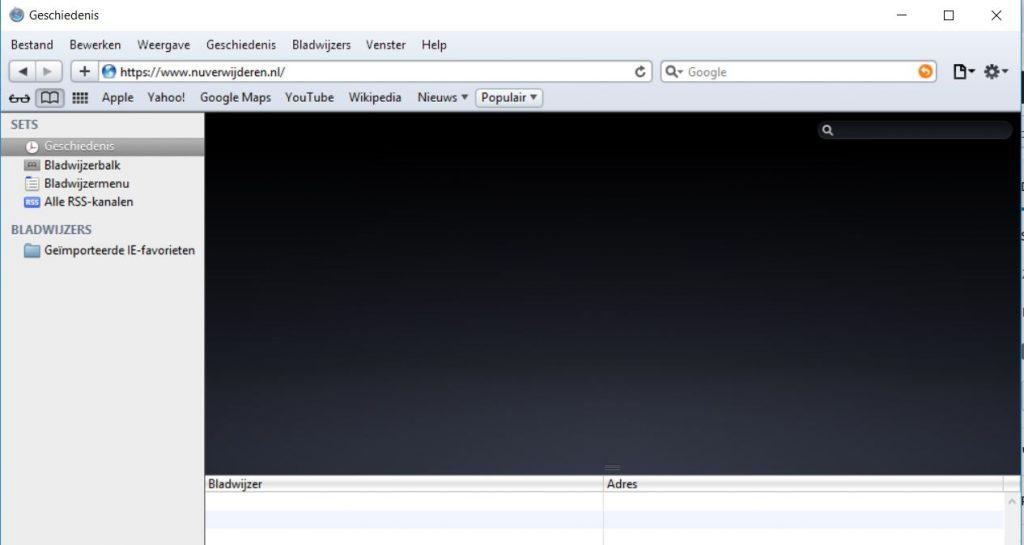 Lege Browser geschiedenis Safari