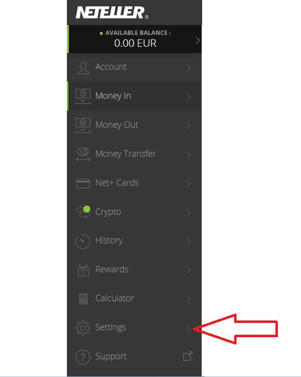 Settings Neteller