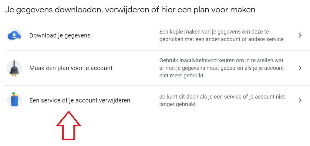 account verwijderen Gmail