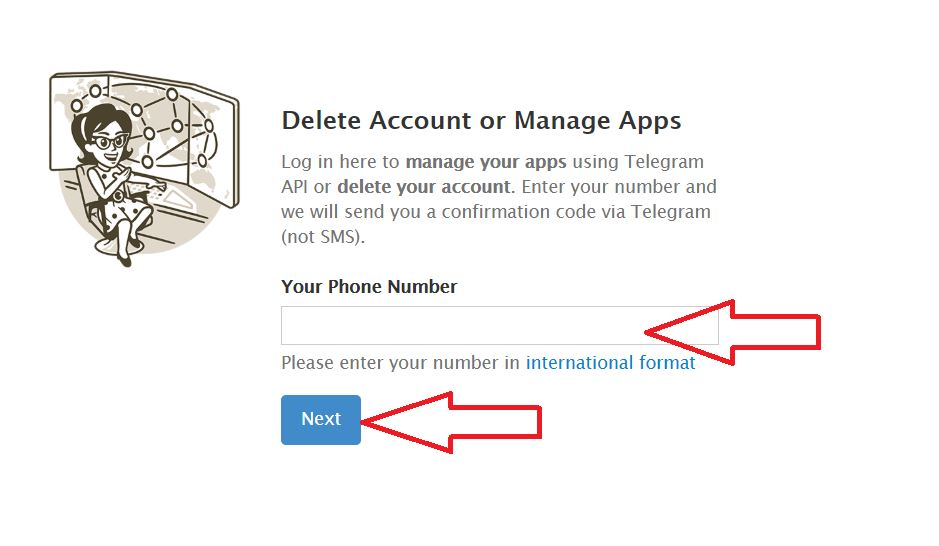 delete account menu Telegram