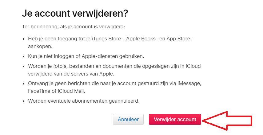 klik op verwijder account apple