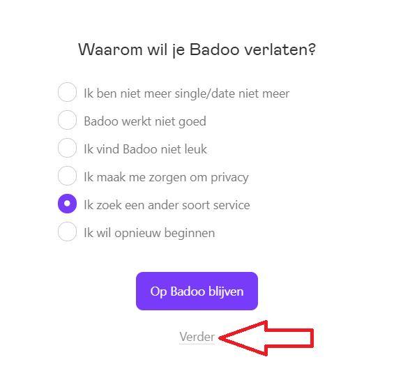 reden verwijderen Badoo