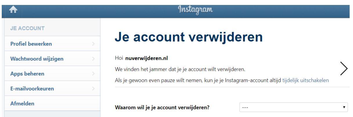verwijder scherm Instagram